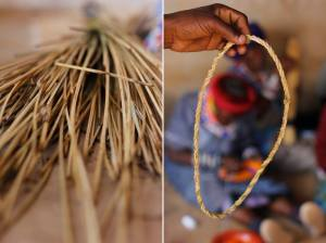 Mohlahla (unique river reed) is used to structure and give shape to traditional beads (dipheta) as part of the Rutang Bana Ditaola workshops, July 2015